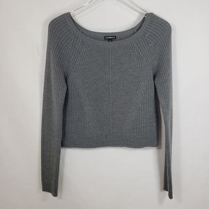 Express Gray Long Sleeve Pullover Cropped Sweater